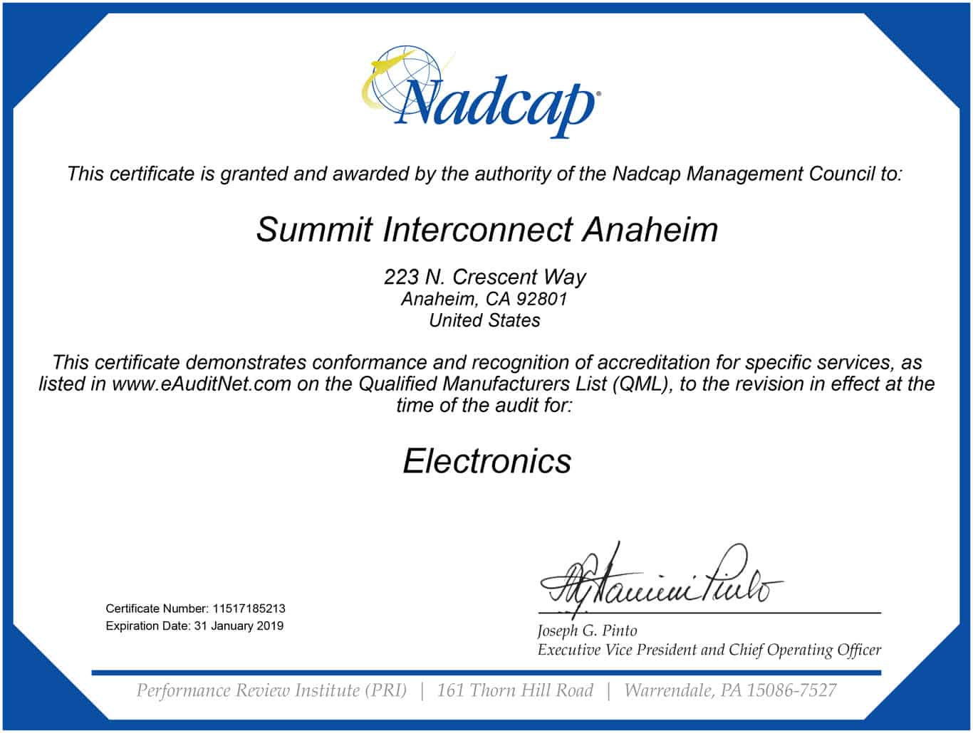 Summit Interconnect Achieves Nadcap Accreditation in Electronics