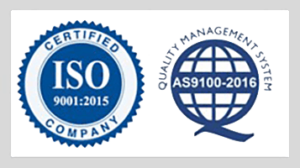 Quality Certification ISO 9001:2015 Certified Company and Quality Management System AS9100-2016 combined logo